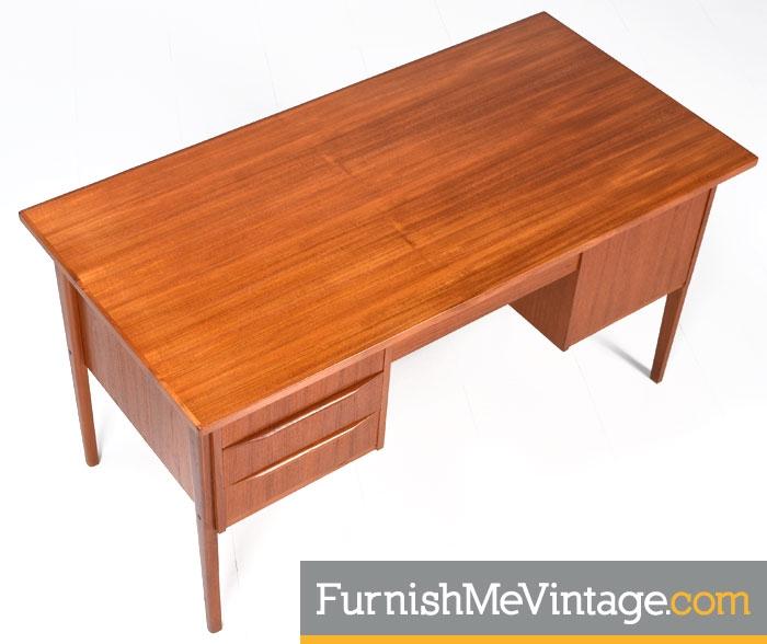 Mid Century Modern Danish Teak Desk With Bookcase