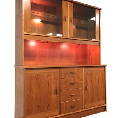 Vintage Teak Lighted China Cabinet