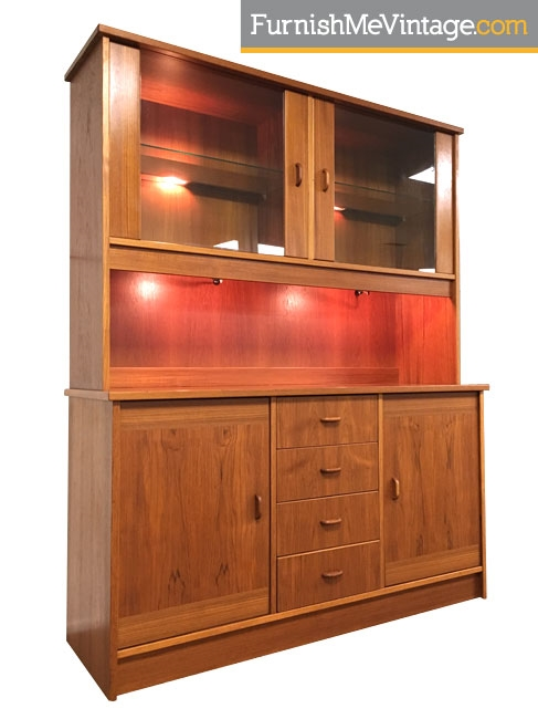 Lighted Danish Modern Teak China Cabinet
