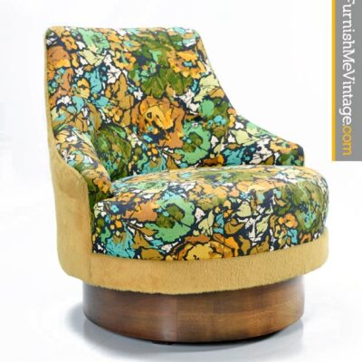 Vintage 1960s Patterned Barrel Chair