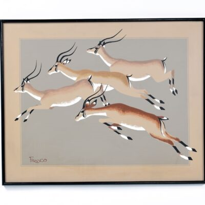 Mid Century Modern Franco Antelope Painting