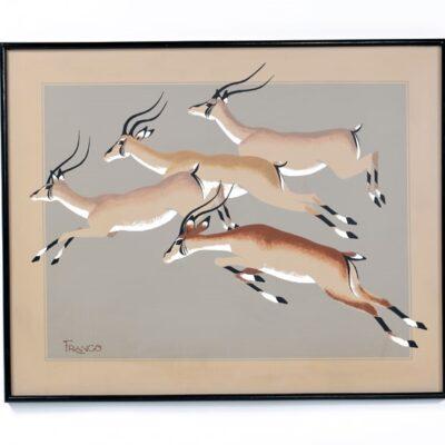 Mid Century Modern Franco Antelope Painting