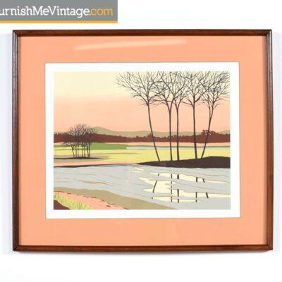 Modernist Original Coral Landscape by Fields