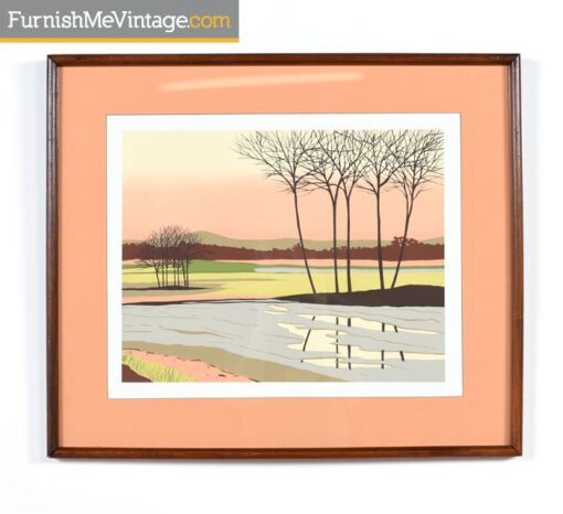 Modernist Original Coral Landscape by Fields