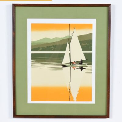Vintage Original Sailboat Serigraph by Fields