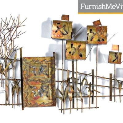 Vintage Country Road Brutalist Metal Wall Sculpture