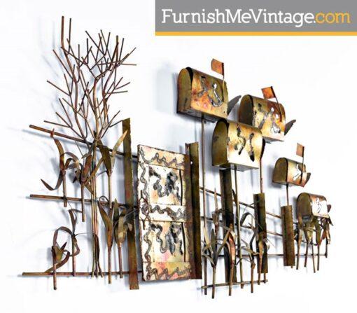 Vintage Country Road Brutalist Metal Wall Sculpture