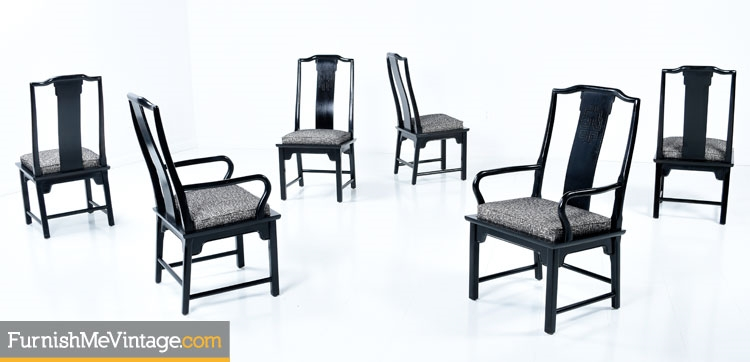 Set Of Six Vintage Black Chin Hua Dining Chairs
