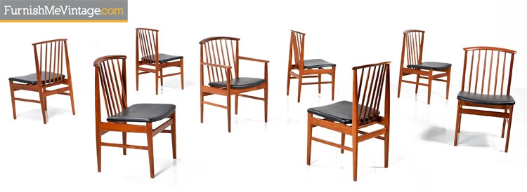 Set of 8 Restored DUX Mid Century Modern Teak Chairs