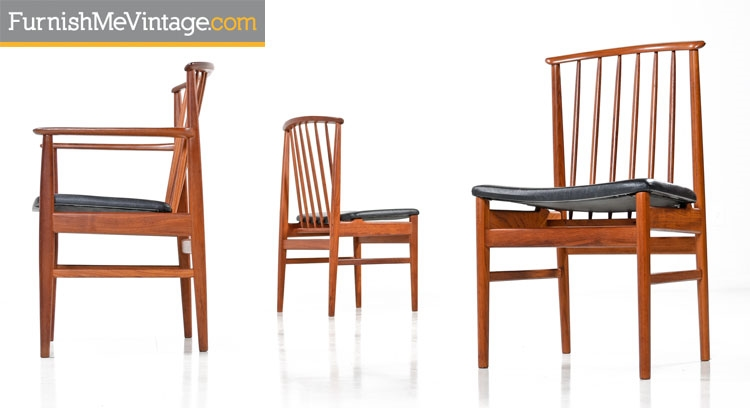 Set Of 8 Restored DUX Teak Chairs