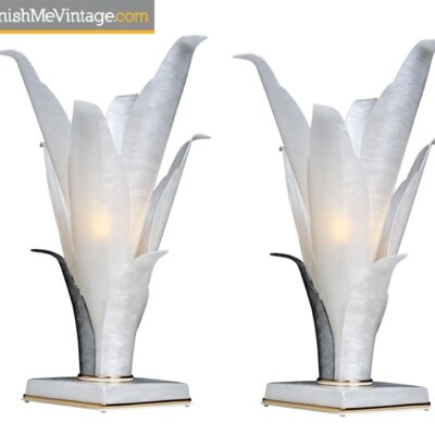 Rougier Table Lamps - White Marbled Acrylic Gold Accent Floral Tulip Design