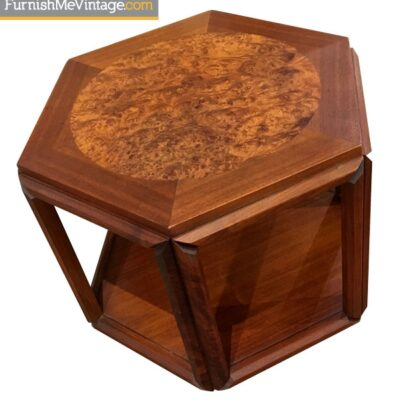 Mid Century Modern Burled Hexagon End Table