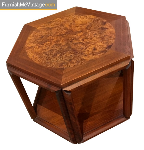 Mid Century Modern Burled Hexagon End Table
