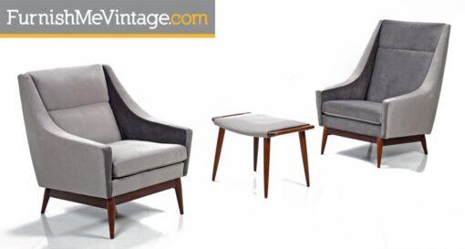 hans wegner,danish,lounge chairs,mid-century,modern,grey velvet,highback chair