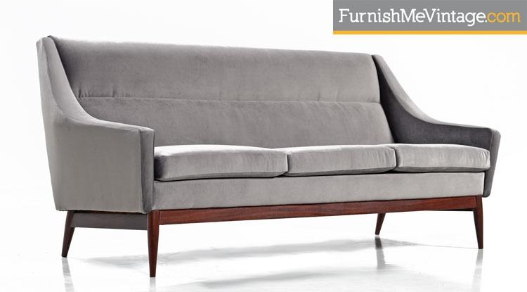 Superbe Gray, Mid Century, Modern ,Danish Sofa,couch