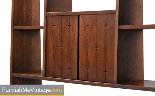 walnut,broyhill saga, room divider,vintage,modern,bookshelf