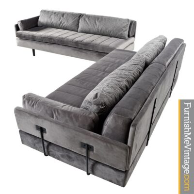 Gray Velvet Mid-Century Modern Modular Daybed Sofas - Custom Made