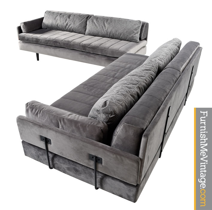 Gray Velvet Modern Daybed Set