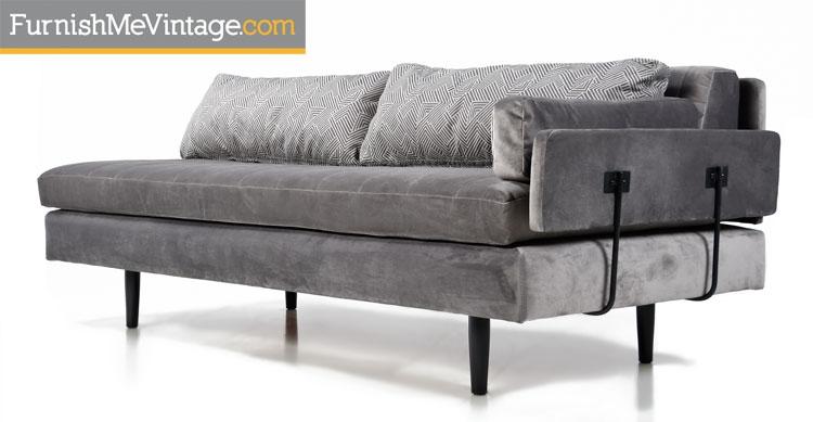 Gray Velvet Mid Century Modern Modular Daybed Sofas   Custom Made