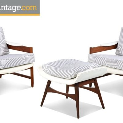 Pair of Mid Century Modern Arm Chairs with Ottoman