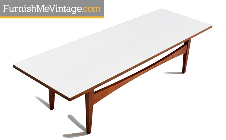 White Laminate And Walnut Mid Century Coffee Table