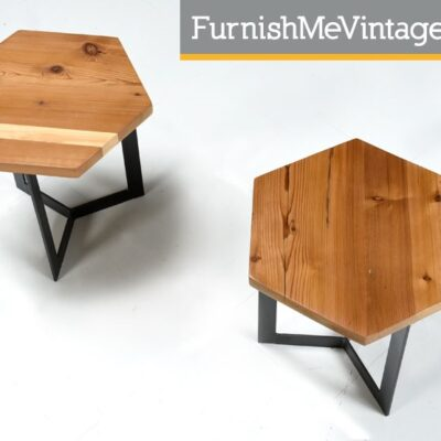 Pair of Contemporary Cypress and Steel End Tables