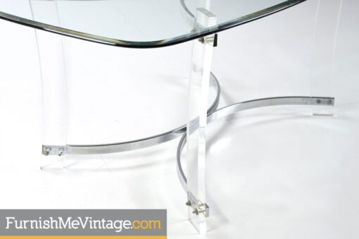 Acrylic Lucite Dining Table With Chrome Accents - Hollywood Regency