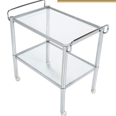 Chrome Bar Cart - Mid-Century Modern With Glass Shelves
