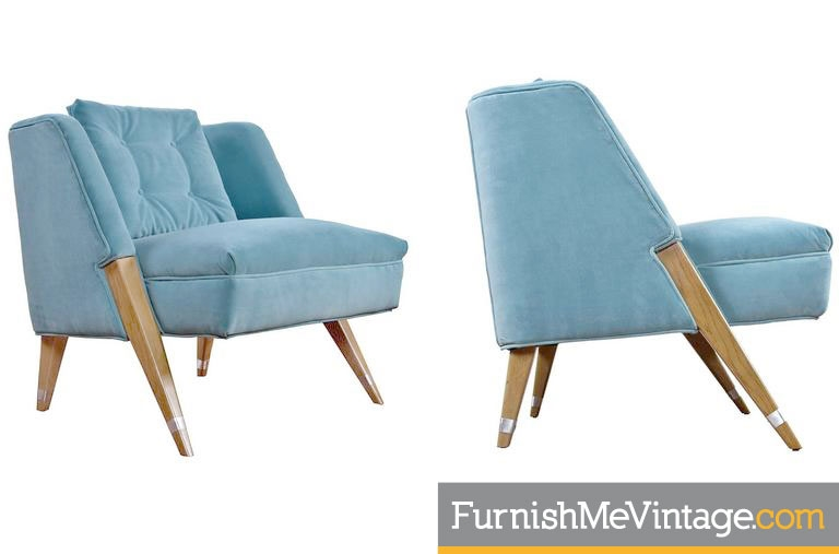 Pair Of Robins Egg Blue Mid Century Slipper Chairs