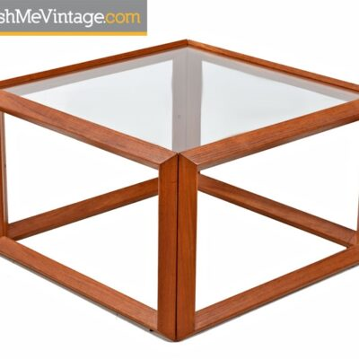 Teak and Glass Danish Modern Square Table