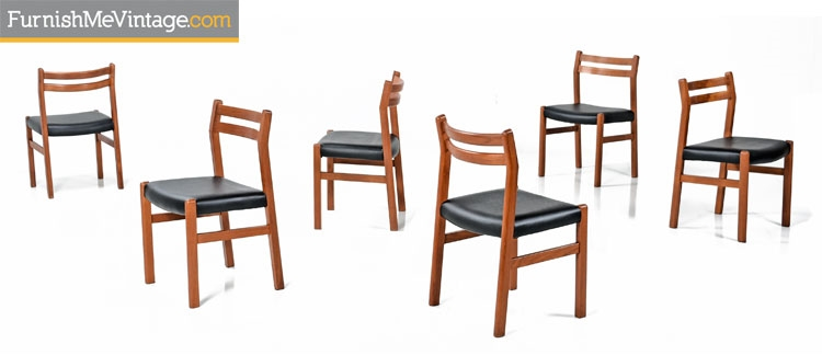 6 Solid Teak Danish Modern Dining Chairs