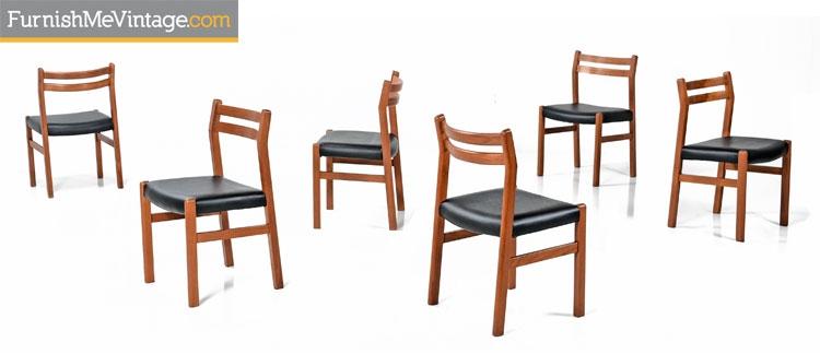 6 Solid Teak Danish Modern Dining Chairs