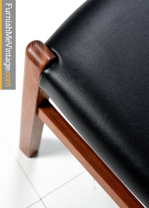 Danish Modern Dining Chairs - Teak Frames With Black Vinyl Seats