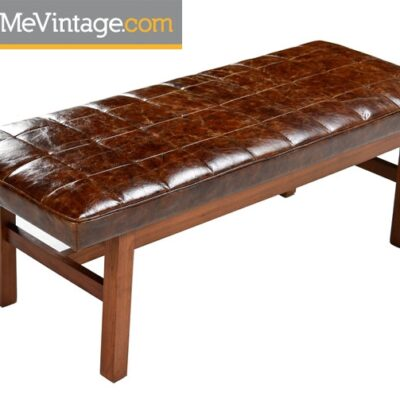 Leather Mid Century Modern Bench