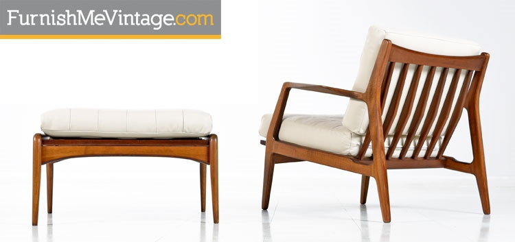 Attirant Ib Kofod Larsen Chair In Leather With Ottoman