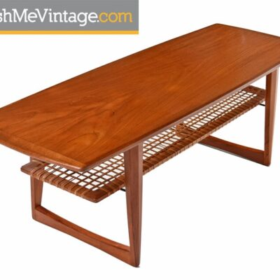 Danish Teak Coffee Table with Caned Shelf