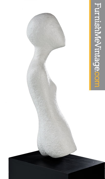 Modern Nude Sculpture - Plaster Female Figure on Pedestal
