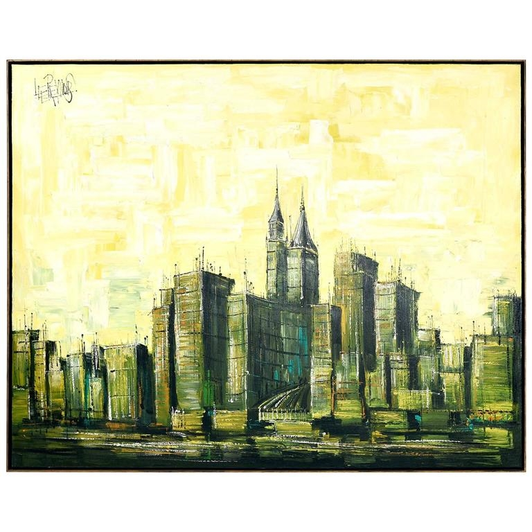 Mid Century Modern Cityscape Painting