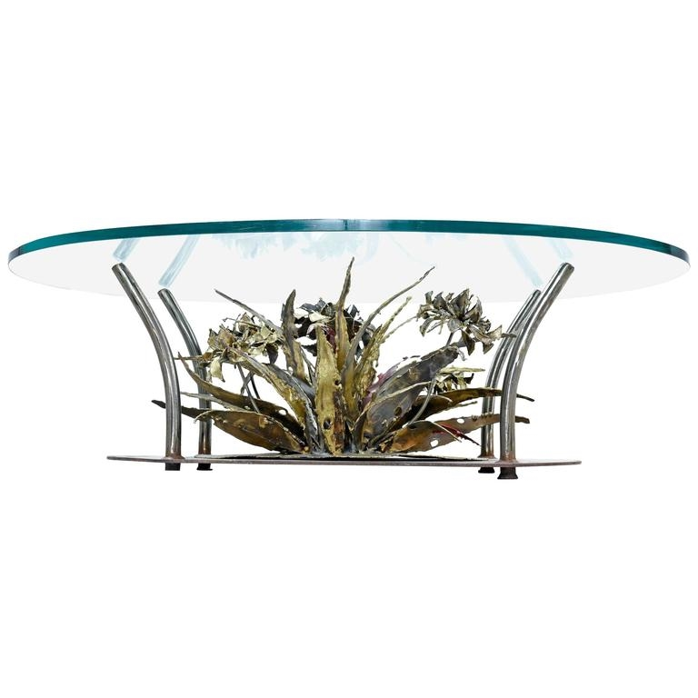Silas Seandel Brutalist Coffee Table Metal Floral Sculpture With Glass Top