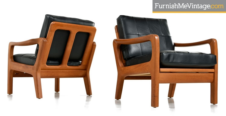 Juul Kristensen Convertible Danish Solid Teak Lounge Chairs