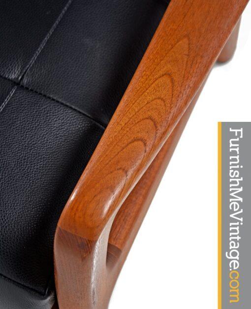 Juul Kristensen, leather, Convertible, Danish, Solid Teak, Lounge Chairs,