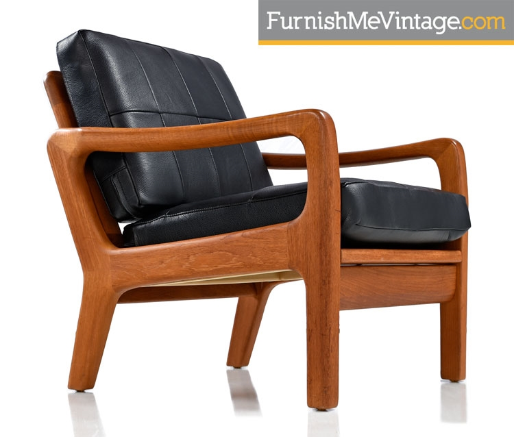 Juul Kristensen, Leather, Convertible, Danish, Solid Teak, Lounge Chairs,