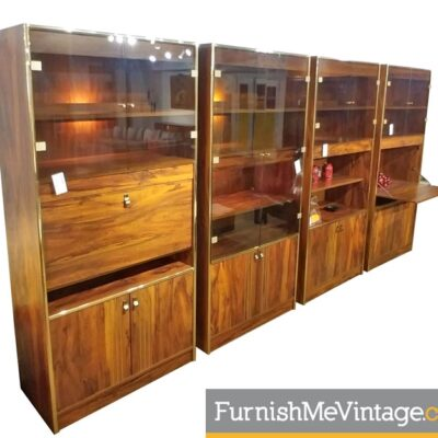 Faux Rosewood Lighted 70's Wall Units