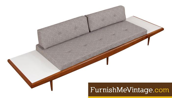 Red Mid Century Modern Daybed Sofa With Attached End Tables