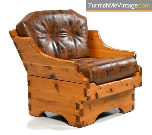 Vintage Leather Solid Pine Arm Chair