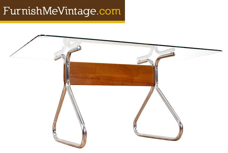 Vintage Chrome Dining Table By Bassett Mirror Company