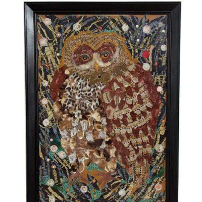 Large Vintage Owl Textile Assemblage Fiber Art