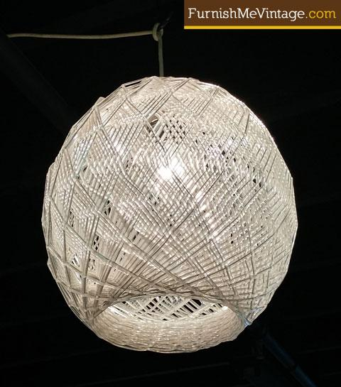 Vintage Spun Lucite Beehive Shaped Swag Lamp