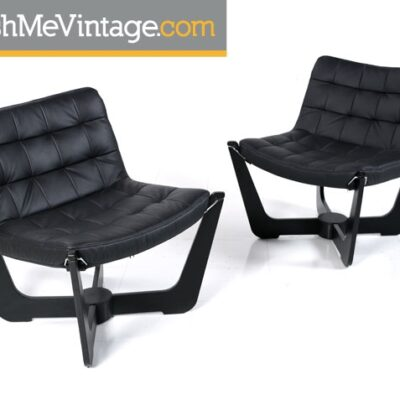 Black Leather Fjords Phoenix Chair
