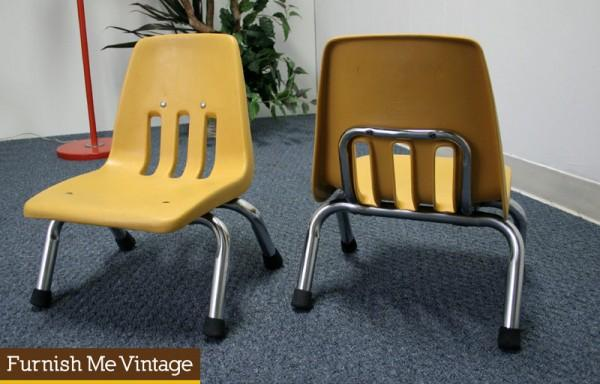 Pair Of Vintage Toddler School Chairs Children
